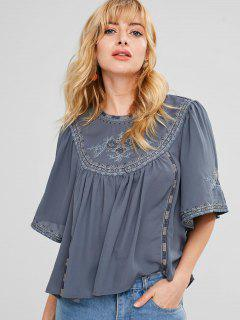 Batwing Embroidered Chiffon Blouse - Mist Blue L