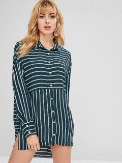 ZAFUL Asymmetric Striped Slit Shirt Dress - Dark Green L