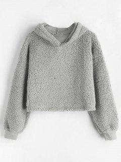 Drop Shoulder Fluffy Boxy Hoodie - Light Gray M