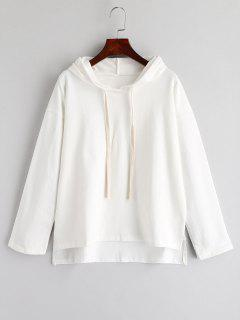 Solid Color High Low Hem Hoodie - White