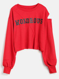 Letter Print Cut Out Sweatshirt - Red