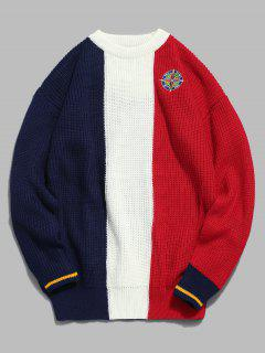 Badge Pattern Color Block Pullover Sweater - Red 2xl