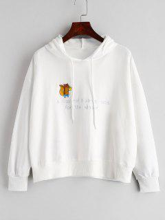 Squirrel Pattern Embroidery Drawstring Hoodie - White
