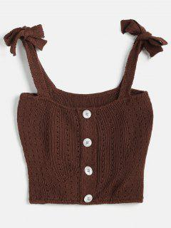 Tie Shoulder Crop Knit Tank Top - Deep Coffee M