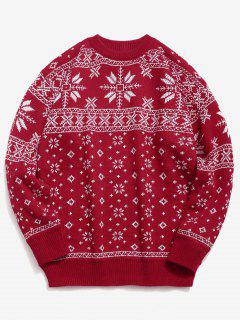 Christmas Snowflake Pattern Pullover Sweater - Red 2xl