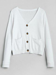 Knitted Pocket Plunge Cardigan - White M