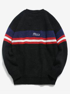 Striped Letters Pattern Pullover Sweater - Black L