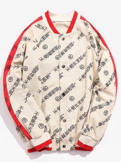 Chinese Characters Raglan Sleeve Baseball Jacket - Khaki M