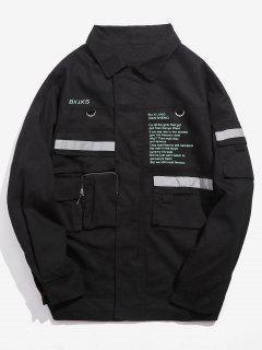Multi Pockets Fluorescent Striped Letter Jacket - Black 3xl