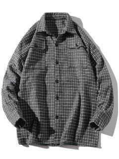 Turndown Collar Houndstooth Pockets Jacket - Black L