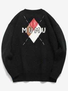 Rhombus Letters Pattern Pullover Sweater - Black M