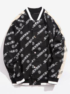 Chinese Characters Raglan Sleeve Baseball Jacket - Black 3xl