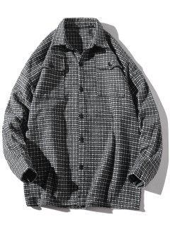 Turndown Collar Houndstooth Pockets Jacket - Black Xl