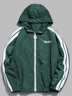 Graphic Pattern Hooded Jacket - Dark Green 2xl