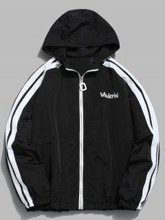 Graphic Pattern Hooded Jacket - Black 2xl