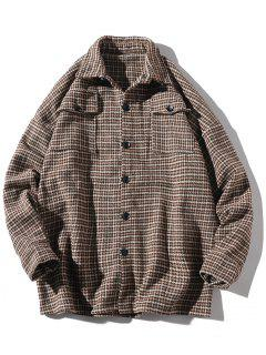 Turndown Collar Houndstooth Pockets Jacket - Coffee Xs