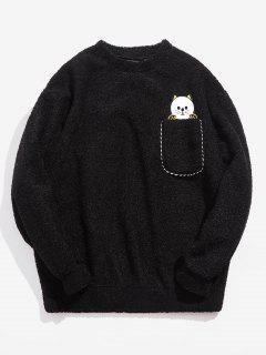 Kitten Applique Pocket Fluffy Sweatshirt - Black Xl