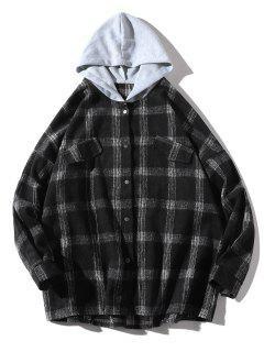 Loose Check Pattern Faux Pocket Hooded Shirt - Black M