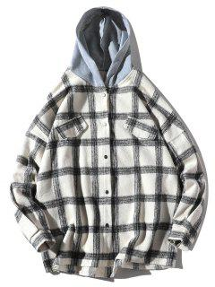 Camisa Con Capucha De Bolsillo Suelto De Imitación De Cuadros Sueltos - Blanco 2xl
