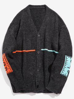 Contrast Elbow Patch Knitted Cardigan - Black M