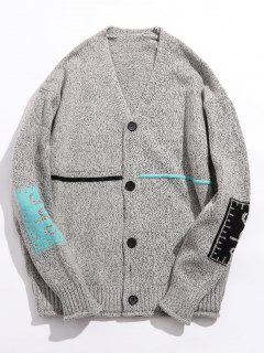 Contrast Elbow Patch Knitted Cardigan - Light Gray Xl