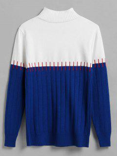 Color Block Stitch Effect Wide Ribbed Sweater - Blue
