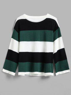 Wide Stripe Tricolor Light Sweater - Green