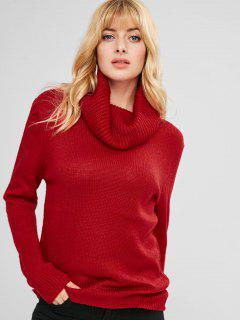 Cowl Neck Tunic Textured Sweater - Red