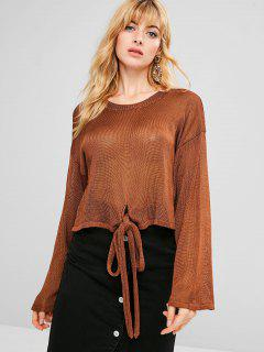 Drop Shoulder Knitted Knot Sweater - Brown S