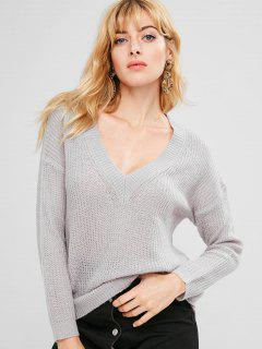 Pull Col V Ample - Nuage Gris