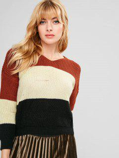 Contrast Striped Hooded Sweater - Multi