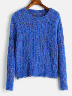 Cable Knit Mixed Yarn Fluffy Sweater - Blue