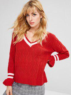 V Neck Bell Sleeve Striped Sweater - Red M