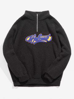 Quarter Zipper Letter Patch Fluffy Sweatshirt - Black M