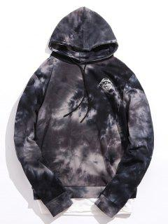 Graphic Ink Print Double Hem Hoodie - Black M