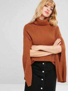 Turtleneck Drop Shoulder Cut Out Sweater - Brown L