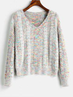 Mixed Yarn Cable Knit Fluffy Sweater - Multi