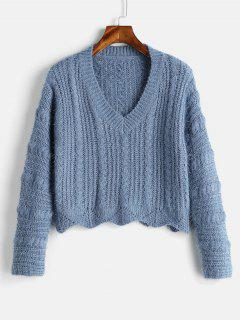 Cozy Fluff Yarn Cable Knit Sweater - Blue Koi