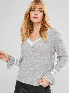 V Neck Bell Sleeve Striped Sweater - Gray L