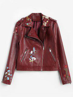 Floral Embroidered Faux Leather Biker Jacket - Red Wine M