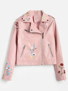 Floral Embroidered Faux Leather Biker Jacket - Pink Xl