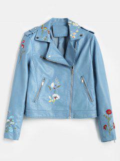 Floral Embroidered Faux Leather Biker Jacket - Blue Koi L