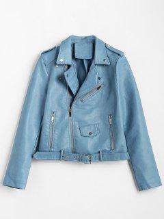 Zip Up Pockets Belted Faux Leather Jacket - Blue Ivy L