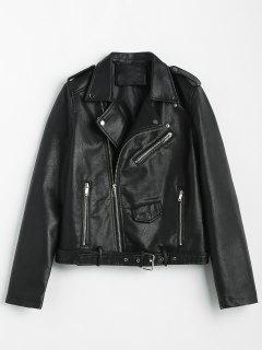 Zip Up Pockets Belted Faux Leather Jacket - Black M