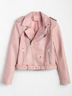 Zip Up Pockets Belted Faux Leather Jacket - Pink M