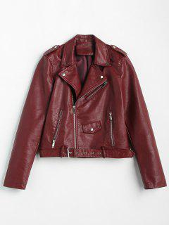 Zip Up Pockets Belted Faux Leather Jacket - Red Wine M