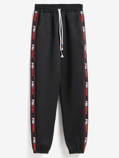 Letter Graphic Side Joggers Pants - Black M