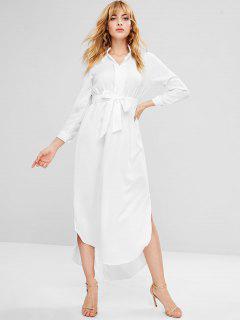 Vestido Largo Con Manga Larga Con Cinturón - Blanco M