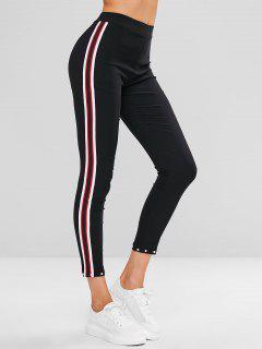 Beaded Side Striped Pants - Black L