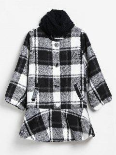 Checked Ruffle Hem Faux Wool Coat And Scarf - Multi L